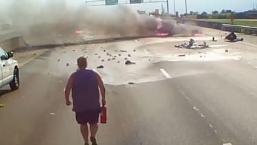 Trucker saves family from massive car crash