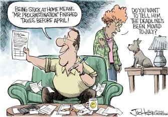 Editorial Cartoon U.S. Tax day push back July procrastination