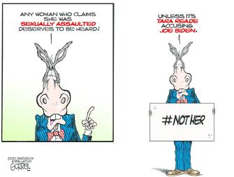 Political Cartoon U.S. dems Tara Reade sexual assault allegation Joe Biden 2020 election