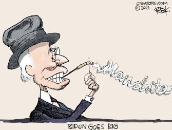 Political Cartoon U.S. biden fdr big government