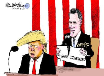 Political Cartoons U.S. Romney Trump exonerated tear up