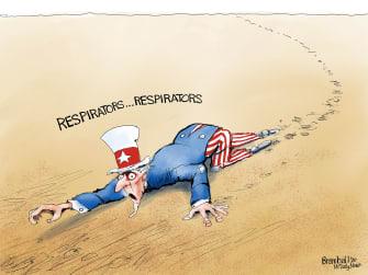 Political Cartoon U.S. Uncle Sam needs respirators