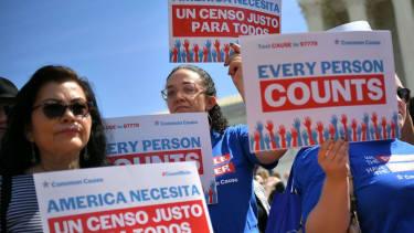 Census protest outside Supreme Court.