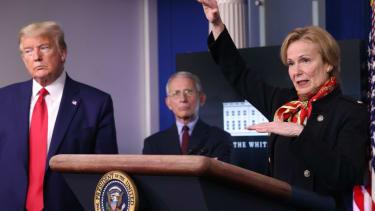 Donald Trump, Dr. Anthony Fauci, and Dr. Deborah Birx.
