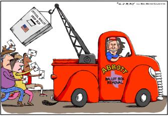 Political Cartoon U.S. Texas Abbott polling places election