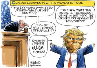 Political Cartoon U.S. Trump Obamagate accusations