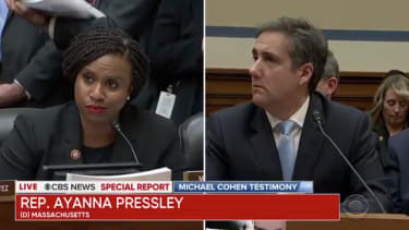 Ayanna Pressley and Michael Cohen.