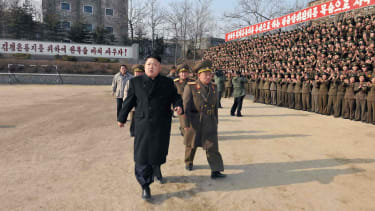 Kim Jong Un appears with the Korean People's Army