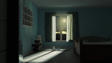 A child's bedroom at night.