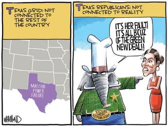 Political Cartoon U.S. texas winter power AOC green new deal