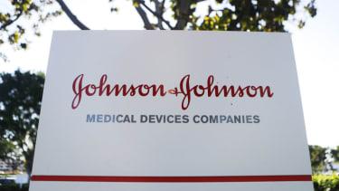 A Johnson & Johnson sign.