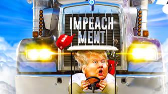 Political Cartoon U.S. Trump Golf Cart Pelosi Truck Tailgating