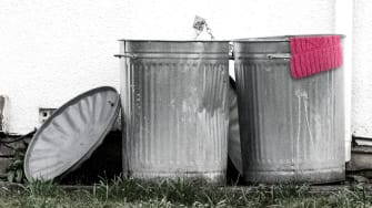 Garbage cans.