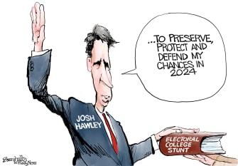 Political Cartoon U.S. Josh Hawley election stunt
