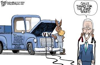 Political Cartoon U.S. Joe Biden James Clyburn Michael Bloomberg democratic backers moderates consolidation