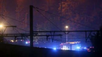 The scene of the train crash Sunday night in Belgium.