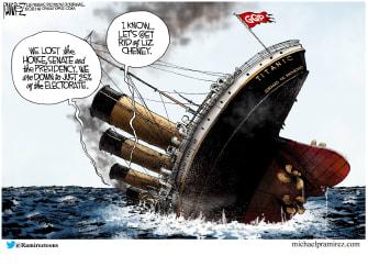 Political Cartoon U.S. gop titanic liz cheney