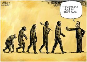 Editorial Cartoon World social distancing evolution coronavirus