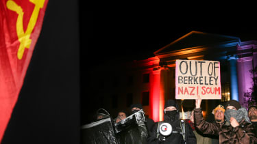 People protest controversial Breitbart writer Milo Yiannopoulos at UC Berkeley in February 2017.