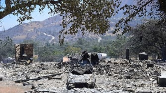 Rubble from a home burned by California wildfire