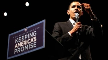 Then-Senator Barack Obama in March 2008: Trouble keeping his own promises?