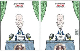Political Cartoon U.S. biden address