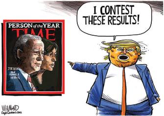 Political Cartoon U.S. Trump Biden Harris Time person of the year