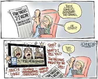 Editorial Cartoon U.S. johnson and johnson pause fox news