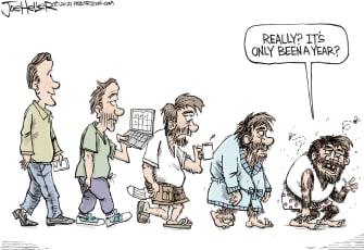 Editorial Cartoon U.S. covid one year anniversary