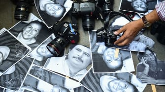 Pictures of murdered Mexican journalists.