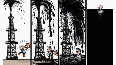 Editorial Cartoon U.S. oil production crash