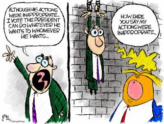 Political Cartoon U.S. Trump Alan Dershowitz Congress senate impeachment trial inappropriate actions shackles