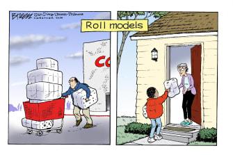 Editorial Cartoon U.S. COVID-19 Coronavirus self-quarantine toilet paper rolls sharing role models