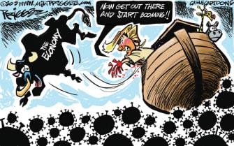 Political Cartoon U.S. Trump coronavirus economy