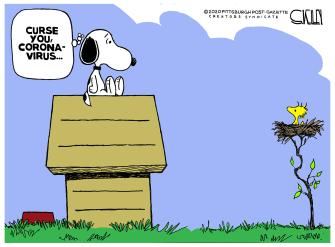 Editorial Cartoon U.S. Snoopy Woodstock Coronavirus social distancing curse space