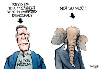 Political Cartoon U.S. navalny gop trump putin russia