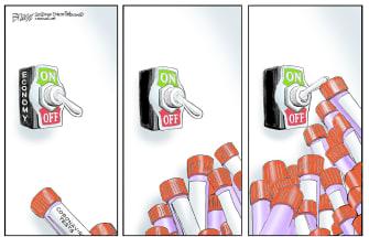 Political Cartoon U.S. Trump forcing economy to open coronavirus testing pile up