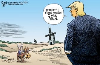 Political Cartoon U.S. Trump Bernie Sanders Don Quixote democratic primaries frontrunners 2020 election