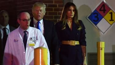 Donald and Melania Trump leave the hospital after visiting Steve Scalise.