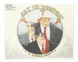 Political Cartoon U.S. Trump William Barr Roger Stone justice department trio