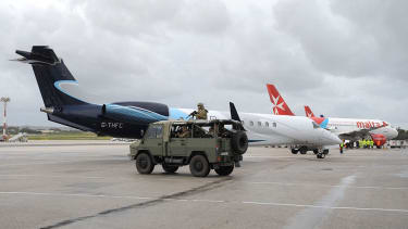 The military guards the runway at Malta airport