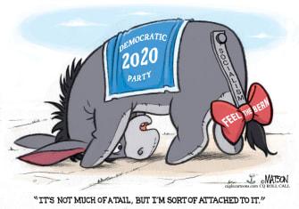 Political Cartoon U.S. Eeyore feels the bern Sanders 2020 democratic nominee