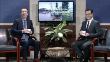 Stephen Colbert and John Oliver read a community calendar