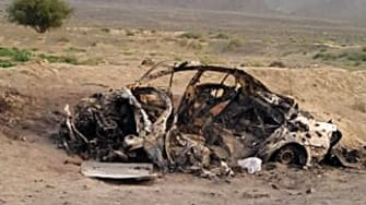 Purported vehicle of Taliban leader Mullah Akhtar Mansour after U.S. airstrike