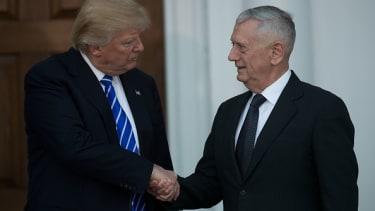 Donald Trump meets with General James Mattis, his eventual secretary of Defense nominee.