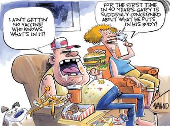 Editorial Cartoon U.S. covid anti vaxxers