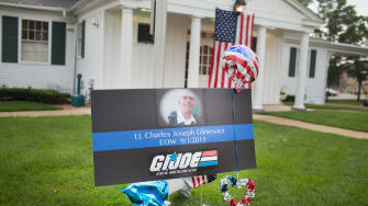 A memorial sign at Gliniewicz's funeral
