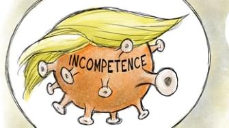 Political Cartoon U.S. mortal threat Trump virus coronavirus incompetence
