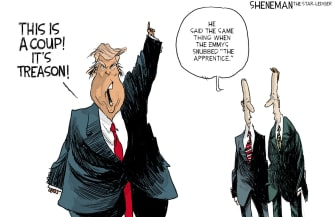 Political Cartoon U.S. Trump Impeachment Treason The Apprentice Snub