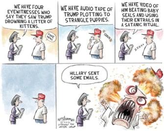 Political Cartoon U.S. Trump Hillary MAGA supporter